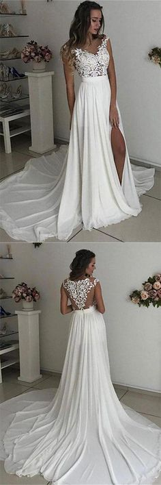 White Cap Sleeves Lace Chiffon Side Slit Long Prom Gowns 0769 is part of Split wedding dress Attention Please! When you purchase the dress, we will email to you within 24 hours to confirm the orde - Wedding Dress Chiffon, Off White Wedding Dresses, Country Wedding Dresses, Lace Evening Dresses, Bridal Dresses, Lace Chiffon, Bridal Gown, Chiffon Dresses, White Long Dresses