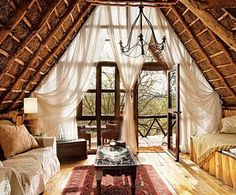 Scratch that, exposed ceiling + wood floors + deck and gauzy curtains = perfection.