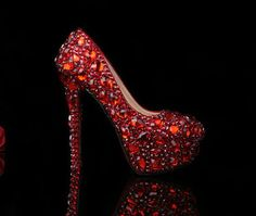 Luxury Heel Red Diamond Shoes with Crystal Shoes Bridal Heels Shoes, Luxury Closed Toes Bridal Heels Wedding Shoes Bridal shoes on Wanelo