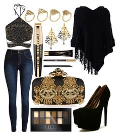 """""""Black & Gold 🔶⚫️"""" by marianandrwos ❤ liked on Polyvore featuring WithChic, Topshop, Maybelline, Oscar de la Renta, Eina Ahluwalia, ALDO, L'Oréal Paris and Yves Saint Laurent"""