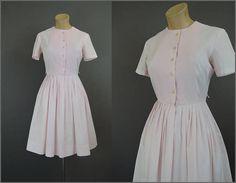 Vintage Pink Dress Full Skirt 35 bust 1960s Cotton Day Dress