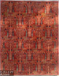Revival of a 19th century Ziegler design carpet. hand spun wool pile with 100% natural vegetable dyes. This piece is woven in Afghanistan by Turkmen weavers.