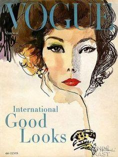 Vintage Vogue magazine covers  Vintage Vogue March 1958