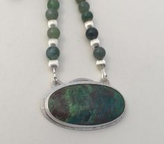 Parrots Wing Jasper/Sterling Silver and Moss Agate Beads
