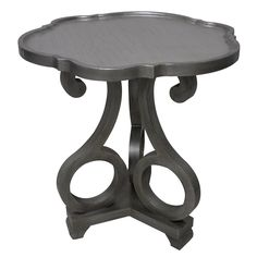 Crestview Adriana Brushed Silver Scalloped Side Tables CVFZR1770