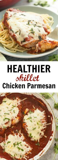 This Skillet Chicken Parmesan is made healthier with a homemade tomato sauce, skinless chicken breasts and no breading or frying (which means it's also gluten free)! It's a 30 minute meal that everyon (Italian Chicken Parmesan) Breaded Chicken Parmesan, Skillet Chicken Parmesan, Chicken Parmesan Recipes, Baked Chicken, Parmesan Sauce, Chicken Pasta, Italian Chicken Recipes, Turkey Recipes, Healthy Cooking