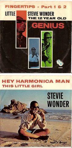 Little Stevie Wonder 45 rpm Record Sleeves — Fingertips - Part I & II (1963) & Hey Harmonica Man (1964):