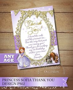 ► MORE PRINCESS SOFIA PRINTABLES http://etsy.me/2eVeEWl   SOFIA THE FIRST THANK YOU CARDS PRINTABLE DIGITAL FILE Do you have a big Princess Sofia fan at home thats just craving a Sofia The First birthday party? Then look no further than these gorgeous Sofia The First invitations,
