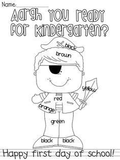 Kindergarten, 1st and 2nd grade pirate coloring .pages for the first day of school