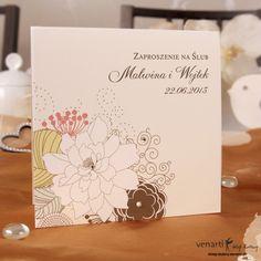 Zaproszenie ślubne - Kwiaty ecri