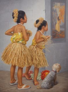 "Douglas Ball Art | Hula Girl Dancers with Dog titled, ""the Competition"" 