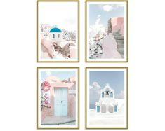 Greece Pastel Set of 4 Prints Travel Wall Art Santorini Photography Contemporary Wall Art, Modern Art Prints, Unique Wall Art, Pastel Home Decor, Travel Wall Art, Pastel House, Thing 1, Pink Wall Art, Pastel Art