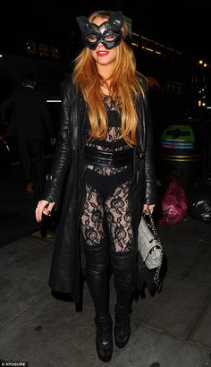 Lindsay Lohan in body stocking and thigh-high boots at Halloween party Celebrity Halloween Costumes, Cool Halloween Costumes, Halloween Party, Lindsay Lohan, Lace Body, Halloween Fancy Dress, Girls World, Mean Girls, Thigh High Boots