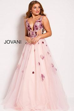 Blush Floral Embroidered V Neck Prom Ballgown 52207