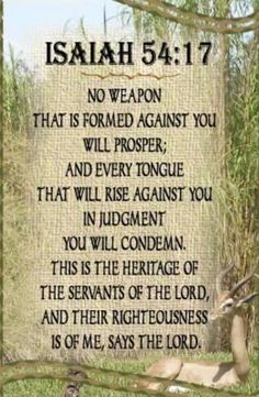No weapon that is formed against you will prosper;  and every tongue that will rise against you in judgement you will condemn. This is the heritage of the servants of the Lord, and their righteousness is of me, says the Lord. Isaiah 54:17