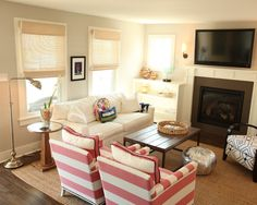 Coastal Cottage family room {before & after | Living rooms, Layout ...