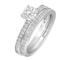 $539.99 - 3/4 Carat TDW Certified Diamond Bridal Set in 14K White Gold