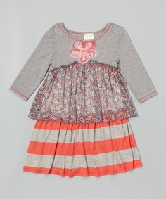 Another great find on #zulily! Pink Vanilla Gray & Coral Stripe Tiered Dress - Toddler & Girls by Pink Vanilla #zulilyfinds