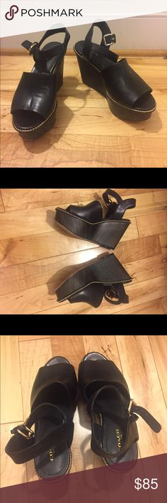 Black Coach Harla Wedges - Size 7 Beautiful black leather Coach wedges with wood sole. Minimal wear on the bottom of the sole. Coach Shoes Wedges