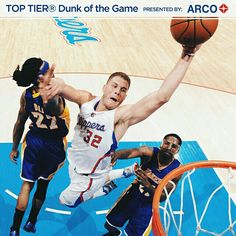 @blakegriffin32 takes flight for the TOP TIER® Dunk of the Game presented by ARCO. Visit Clippers.com for the full video.