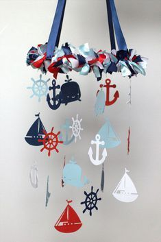 Latest Free Nautical Nursery Mobile in Red, Navy, Baby Blue & White-Baby Mobile, Baby Shower Gift Popular Got kids ? Then you know that their material winds up literally all around the house! Nautical Nursery, Nautical Baby, Nautical Theme, Nautical Mobile, Navy Nursery, Marine Baby, Baby Boy Rooms, Baby Boy Nurseries, Room Baby
