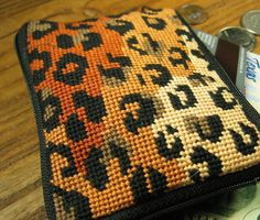 Leopard Needlepoint Coin Purse by OneCreativeFamily on Etsy