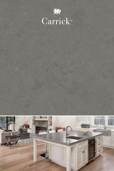 Presenting a modern spin on smooth concrete, Carrick™ uses shades of gray and soft charcoal to create a stylish and contemporary pattern. Kitchen And Bath, New Kitchen, Kitchen Dining, Kitchen Decor, Grey Countertops, Kitchen Countertops, Design Palette, Merian, Reno
