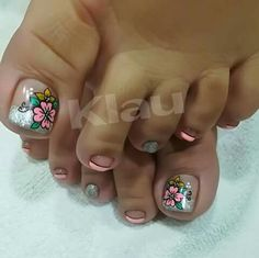 64 Ideas Nails Coffin Azul For 2019 Cute Pedicure Designs, Toe Nail Designs, Love Nails, Pink Nails, Feet Nail Design, Summer Toe Nails, Feet Nails, Super Nails, Toe Nail Art