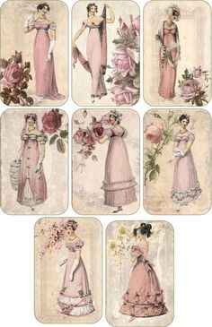 Vintage inspired victorian Jane Austen scrapbooking cards tags set 8 envelopes