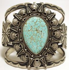 Old Pawn Cuff | Randy Boyd (Navajo).  Sterling silver and #8 turquoise.
