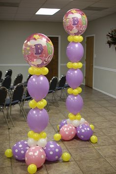 Ballon Decorations - Pretty balloon sculpture combination of pink, purple and yellow. Cute for a baby shower! Do blue and green for a boy! Purple Balloons, Balloons And More, How To Make Balloon, Love Balloon, Balloon Columns, Balloon Arch, Balloon Ideas, Balloon Designs, Baby Shower Balloons