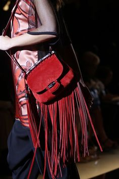 Gucci red suede crossbody bag with long fringe. #ss14