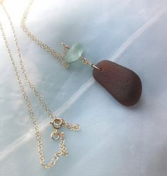 Brown and teal genuine sea glass pendant on 14k gold chain