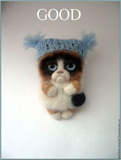 Grumpy cat.Брошь - белый,grumpy cat,угрюмый кот,недовольный кот,сердитый кот