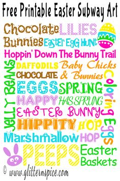 Hop on over and download this cute and colorful, Free Printable Easter Subway Art Print to hang on your wall or to decorate a mantle with this Easter!