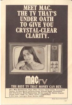 Before Apple TV, there was Mac TV. Feb '73. Vintage India, Vintage Ads, Vintage Prints, Vintage Advertising Posters, Old Advertisements, Rare Pictures, Rare Photos, India Poster, Indian Prints