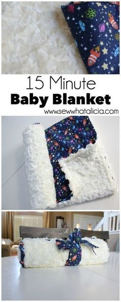 15 Minute Baby Blanket | www.sewwhatalicia.com #sewing #babyblanket #easysewingproject