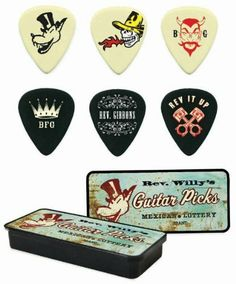 """Dunlop Rev. Willy's Mexican Lottery Mojo Guitar Pick Tin - Medium Gauge by Jim Dunlop. $5.63. These picks feature Billy Gibbons inspired art imprinted on authentic Dunlop picks and presented in highly stylized pick tins. They capture his """"Texas boogie-blues rock style"""" perfectly and are true musical tools for the serious guitar player too.. Save 25%!"""