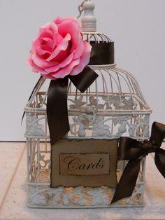 SALE  3000  Ivory Birdcage / Card holder / Wedding / by ThoseDays, $30.00