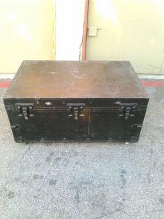 194o old vintage antique metal storage trunk & 194o old vintage antique metal storage trunk | WWII Army Medical ...
