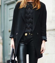 Thou Shall Layer | Leather pants fitted with a black belt accented with gold paired with an oversized coat and fur top