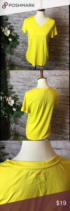 NW/T Neon Yellow Champion Powertrain shirt Comfortable shirt, eye candy color, v-neck. Never worn, without tags.  Size L.  Make a reasonable offer and I'll either counter, accept or decline. No trades.  Please check out the rest of my closet, I have various other brands. Champion Tops Tees - Short Sleeve