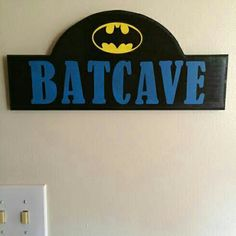 Handmade Wooden Batcave Sign with Batman Logo - 7 x by TheSamAntics on Etsy Batman Room, Baby Batman, Superhero Room, Boys Room Decor, Boy Room, Kids Bedroom, Bedroom Ideas, Batman Bathroom, Dc Comics