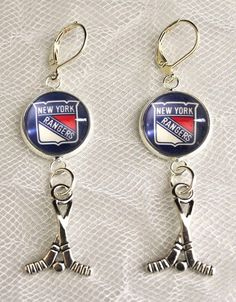 New York Rangers Earrings with Hockey Charm made from Hockey Cards Upcycled #NewYorkRangers