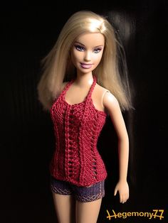 Crochet Dolls Clothes Red hand knitted Barbie top with shorts by doll clothes Barbie Knitting Patterns, Barbie Clothes Patterns, Crochet Barbie Clothes, Clothing Patterns, Barbie Top, Barbie Dress, Knitted Dolls, Crochet Dolls, Fashion Dolls