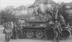 T-34-85 number 114 7th Guards Tank Corps in the streets of Prague.