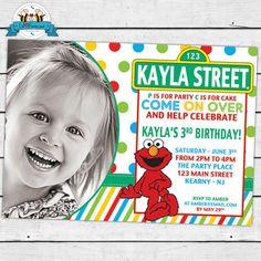 Elmo Sesame Street Birthday Party Photo Invitations