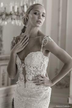 amalia carrara spring 2016 bridal cap sleeves embellished straps sweetheart mermaid beaded wedding dress (341) zv