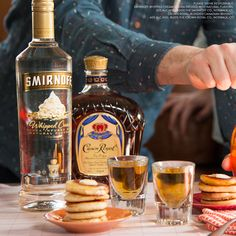 WHISKEY PANCAKE SHOT. It's much easier to make a round of whiskey pancake shots than to fit a stack of tiny #whiskey #pancakes into a shot glass. #NationalPancakeDay #EasyDrinks   Just mix 0.75oz Smirnoff Whipped Cream and 0.75oz Whiskey and enjoy!