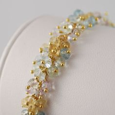 Pastel Blue Aquamarine Jewelry Gold Multicolor Gemstone Bridal Wedding Bracelet  - Forget Me Not - Complimentary Shipping on Etsy, $295.00